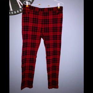 Sanctuary red plaid leggings size XL